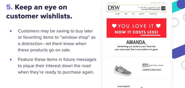 customer wishlists email